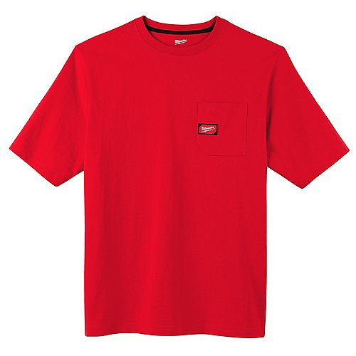 Men's Small Red Heavy Duty Cotton/Polyester Short-Sleeve Pocket T-Shirt