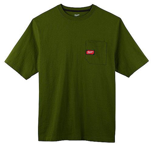 Men's Small Green Heavy Duty Cotton/Polyester Short-Sleeve Pocket T-Shirt
