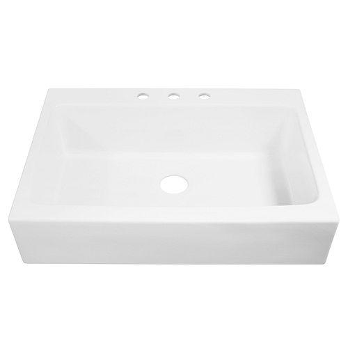 Josephine Drop-in Farmhouse Fireclay 33.85 inch 3-Hole Single Bowl Kitchen Sink in Matte White