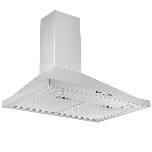 30 in. 600 CFM Convertible Wall Mount Pyramid Range Hood in Stainless Steel