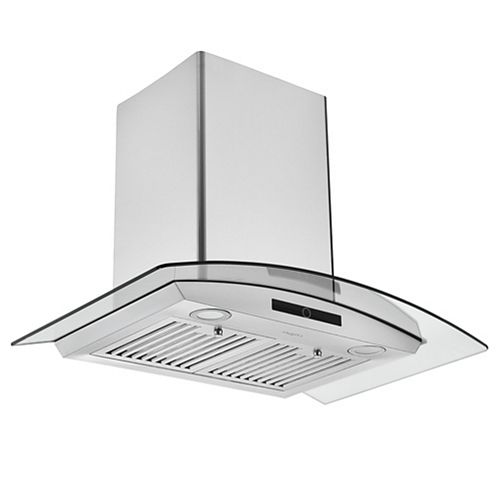 Ancona 30 in. 600 CFM Convertible Wall Mount Glass Canopy Range Hood in Stainless Steel