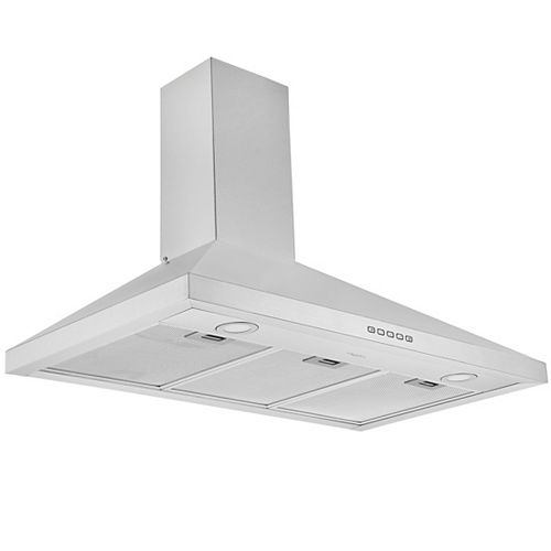 Ancona 36 in. 440 CFM Convertible Wall Mount Pyramid Range Hood in Stainless Steel