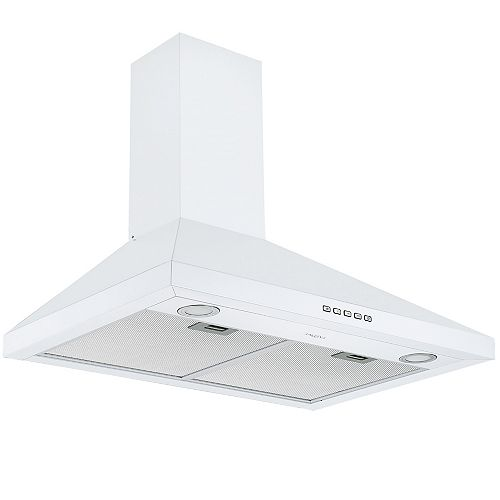 30 in. 440 CFM Convertible Wall Mount Pyramid Range Hood in White Stainless Steel