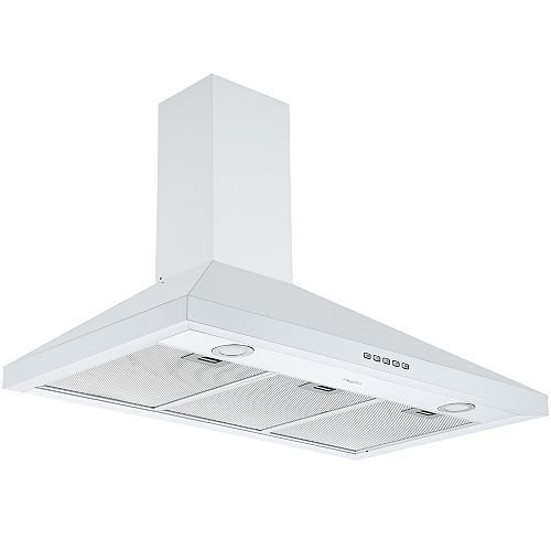 Ancona 36 in. 440 CFM Convertible Wall Mount Pyramid Range Hood in White Stainless Steel