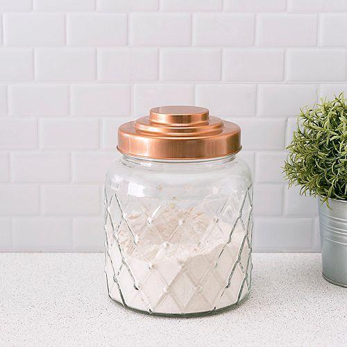 Petit pot en verre texturé avec dessus en cuivre étincelant et étanche à l'air