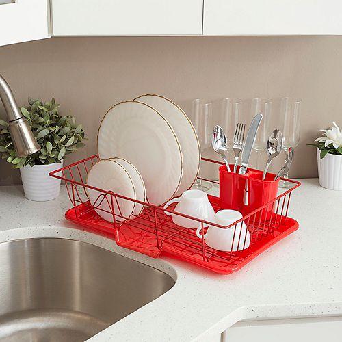 Égouttoir à vaisselle en vinyle résistant aux ustensiles avec égouttoir auto-drainant, rouge