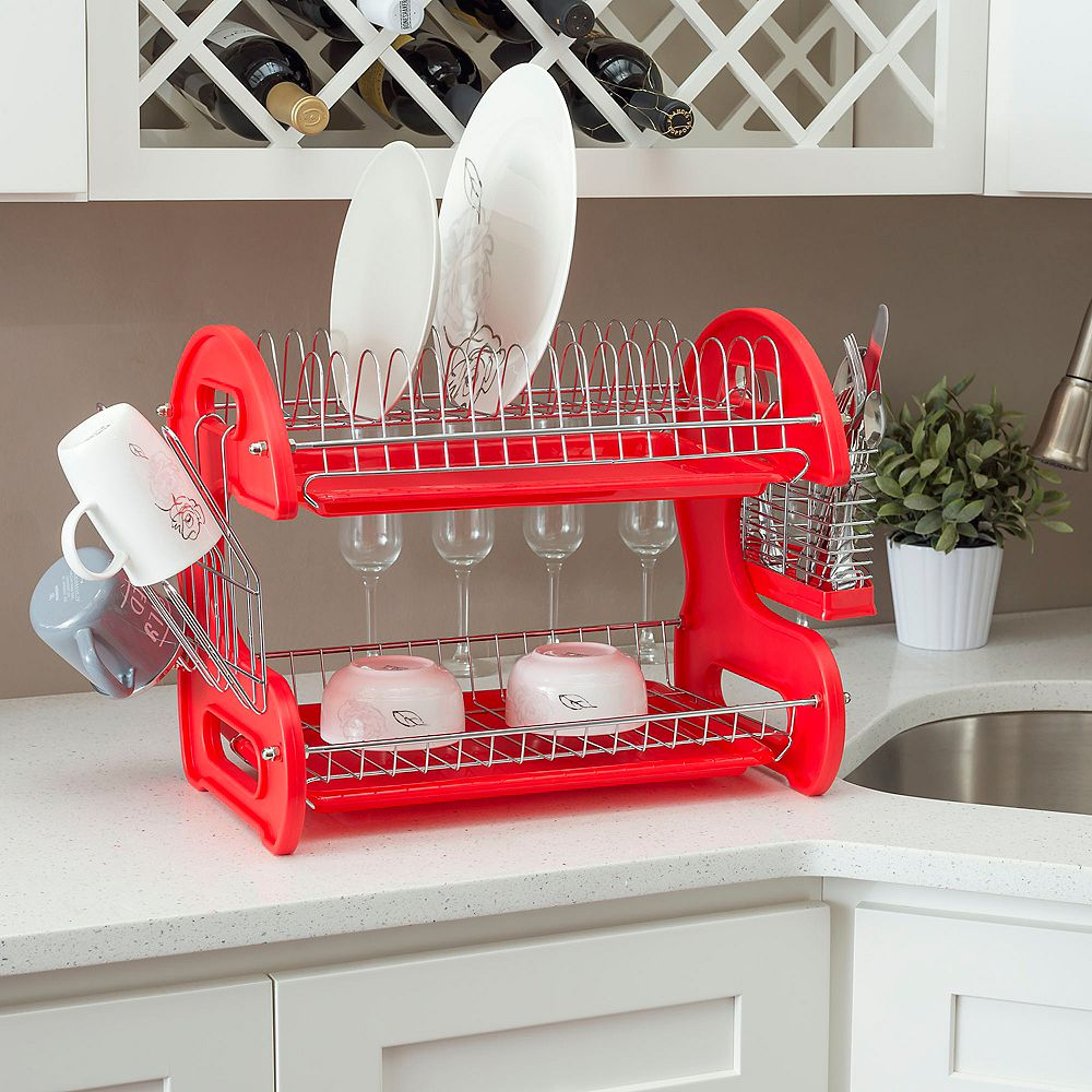 Home Basics Égouttoir à vaisselle en plastique à 2 niveaux