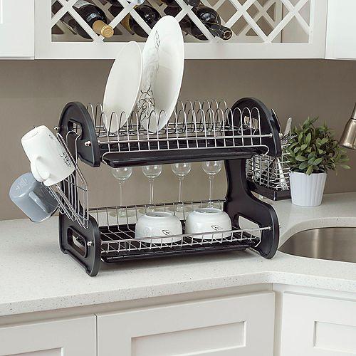 Égouttoir à vaisselle en plastique à 2 niveaux, noir