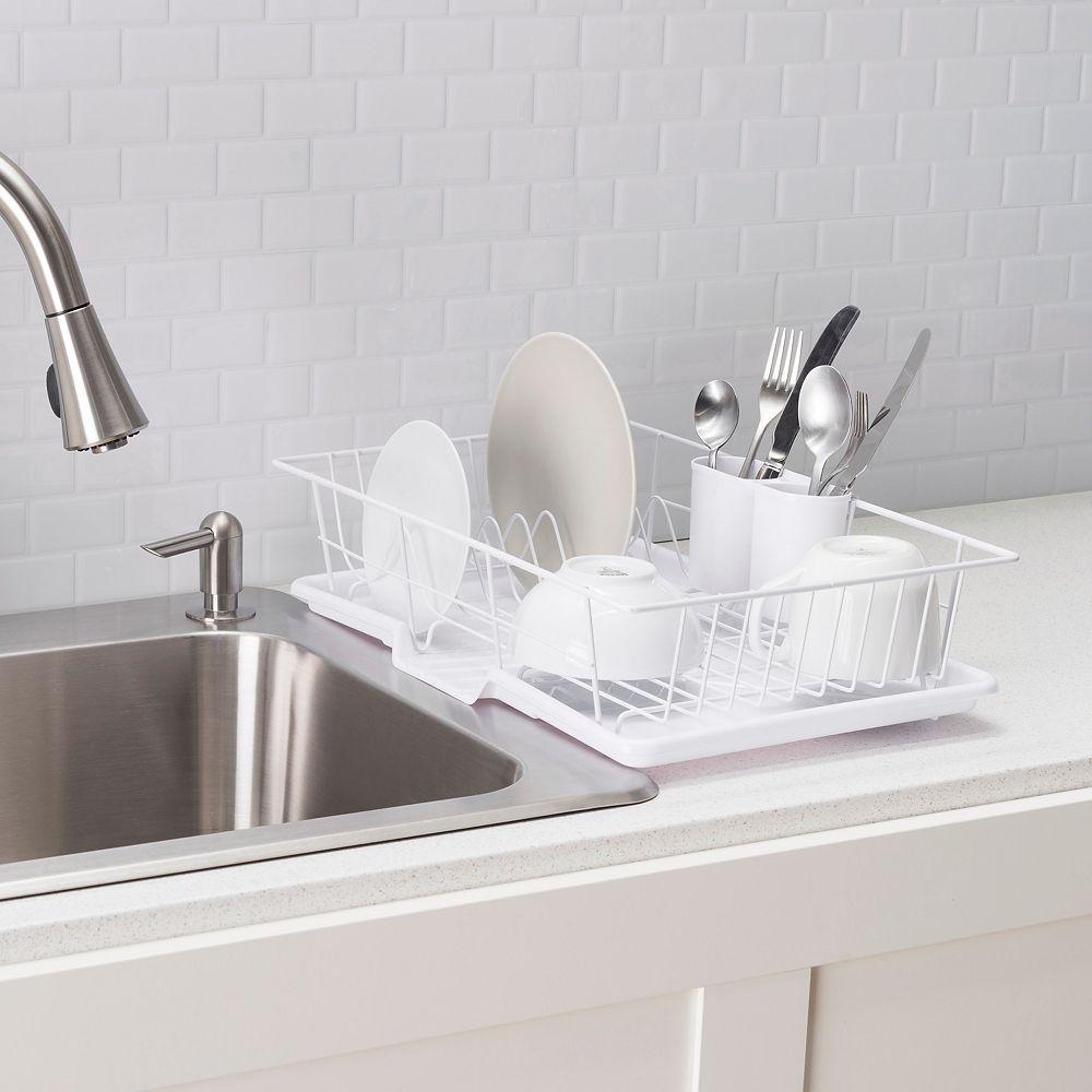 Home Basics Égouttoir à vaisselle en acier enduit de vinyle, 3 pièces, blanc