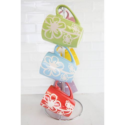 6 Piece Daisy  Mug Set with Stand, Multi-Color