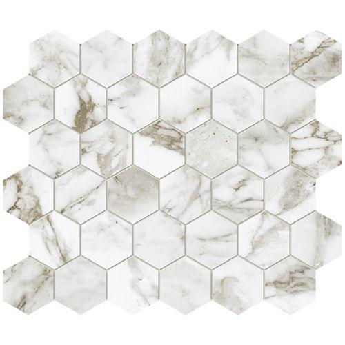 Enigma Oro Arabescato 2-inch Matte Hexagon Porcelain Mosaic Tile