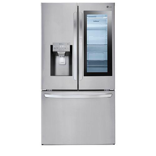 LG Electronics Réfrigérateur à porte française 36 pouces W 28 pieds cubes avec InstaView Door-in-Door® et WiFi en acier inoxydable résistant aux salissures - ENERGY STAR