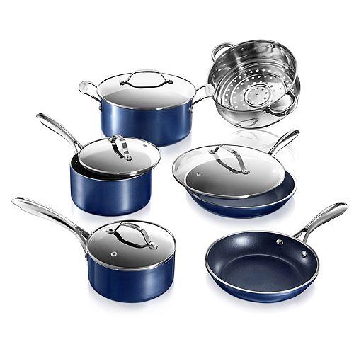 Batterie de cuisine  10 pieces antiadhesive Classic Blue en aluminium infusee de diamants