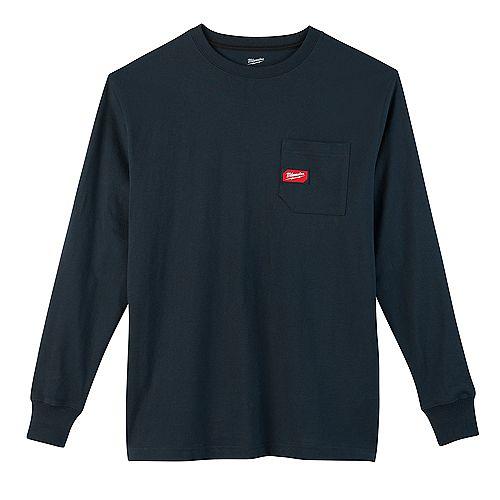 T-shirt bleu à manches longues en coton/polyester pour hommes