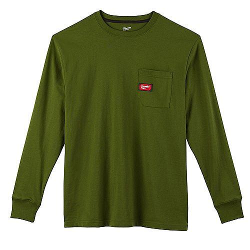 T-shirt vert moyen pour hommes, en coton/polyester, à manches longues et à poches