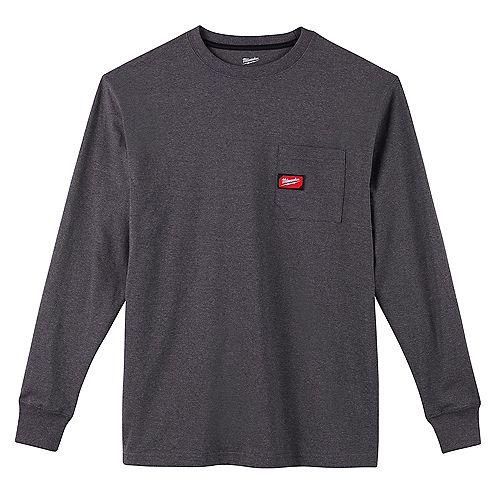 Men's Large Gray Heavy Duty Cotton/Polyester Long-Sleeve Pocket T-Shirt