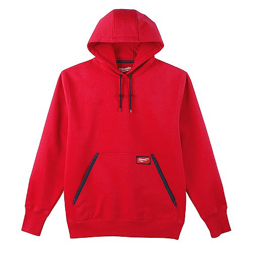 Men's Large Red Heavy Duty Cotton/Polyester Long-Sleeve Pullover Hoodie