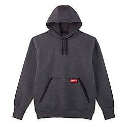 Men's Large Gray Heavy Duty Cotton/Polyester Long-Sleeve Pullover Hoodie