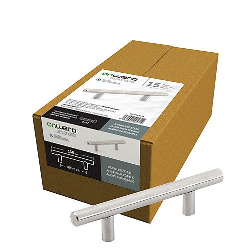 (Paquet de 15) Poignée Contemporaine Acier inoxydable 3 po (76 mm) Centre-à-Centre