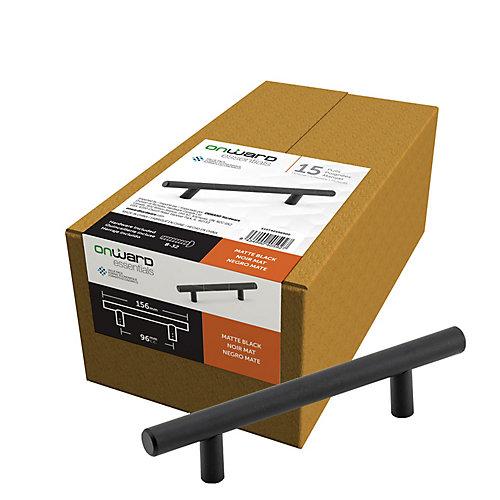(Paquet de 15) Poignée Contemporaine Noir mat 3 3/4 po (96 mm) Centre-à-Centre