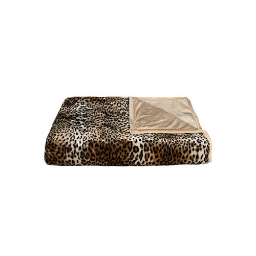 LUXE Faux Hide Leopard Throw Blanket