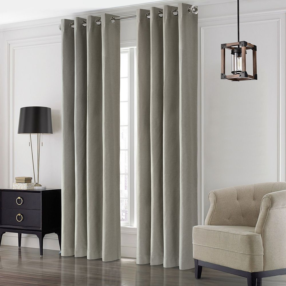 """Thermaplus Edison Total Blackout Grommet Curtain Panel - 52"""" W x 108"""" L in Light Grey"""