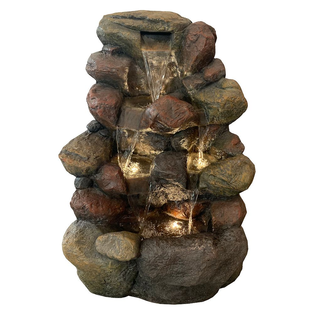Angelo Décor 22.5-inch River Rock Fountain, includes energy efficient pump and LED accent lighting