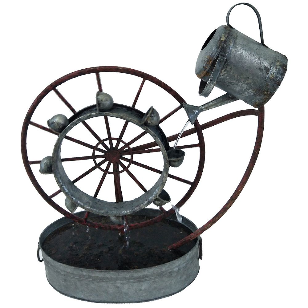 Angelo Décor 24-inch Sprinkling Wheel Fountain, includes energy efficient pump