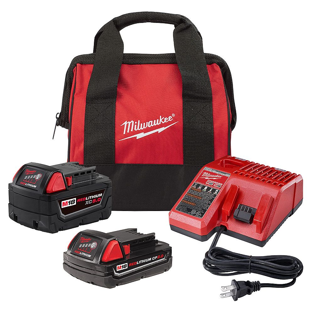 Milwaukee M18 18V Lithium-Ion Starter Kit with (1) 5.0 Ah Battery, (1) 2.0 Ah Battery, Charger & Bag