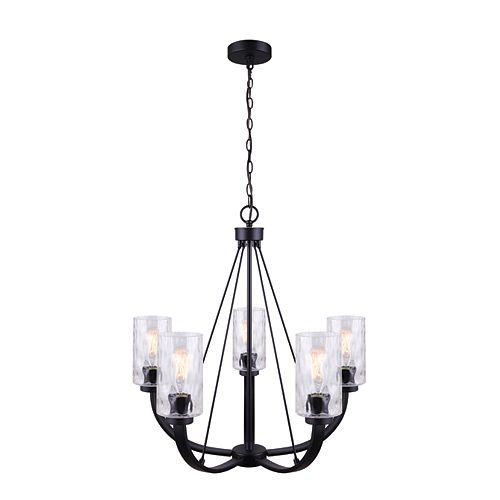 Newport Lustre à 5 ampoules en noir mat avec abat-jour en verre en filigrane