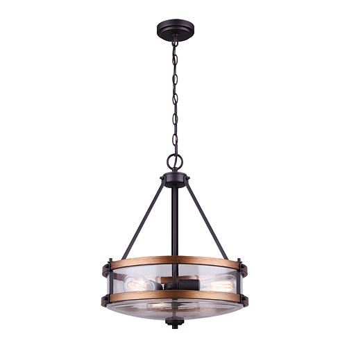 Canarm Ltd Canmore 3-Light Oil Rubbed Bronze and Brushed Wood Chandelier with Clear Glass Shade