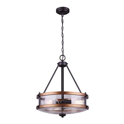 Canmore Lustre à 3 ampoules en bronze huilé et bois brossé avec abat-jour en verre transparent