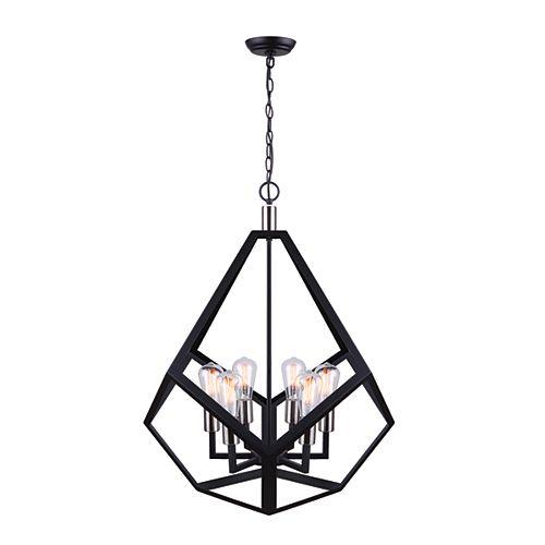 Marena Lustre à 6 ampoules en noir mat et nickel brossé