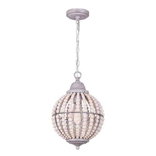 Vesta Pendentif à 1 ampoule en gris brossé  avec de vraies perles en bois