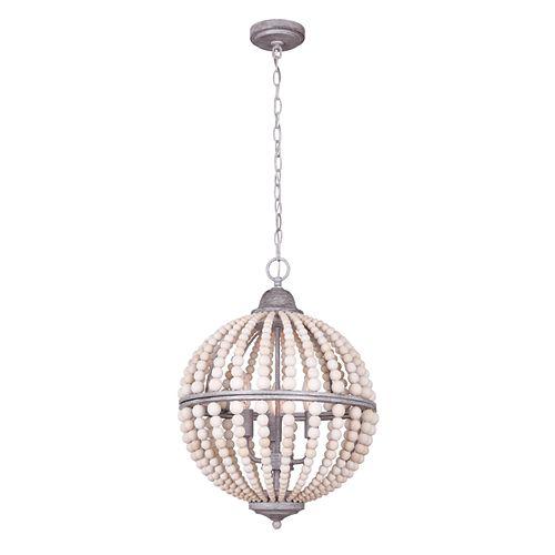 Vesta Lustre à 3 ampoules en gris brossé  avec de vraies perles en bois