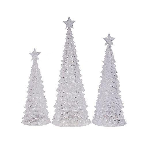 3-Piece LED-Lit Tabletop Christmas Trees