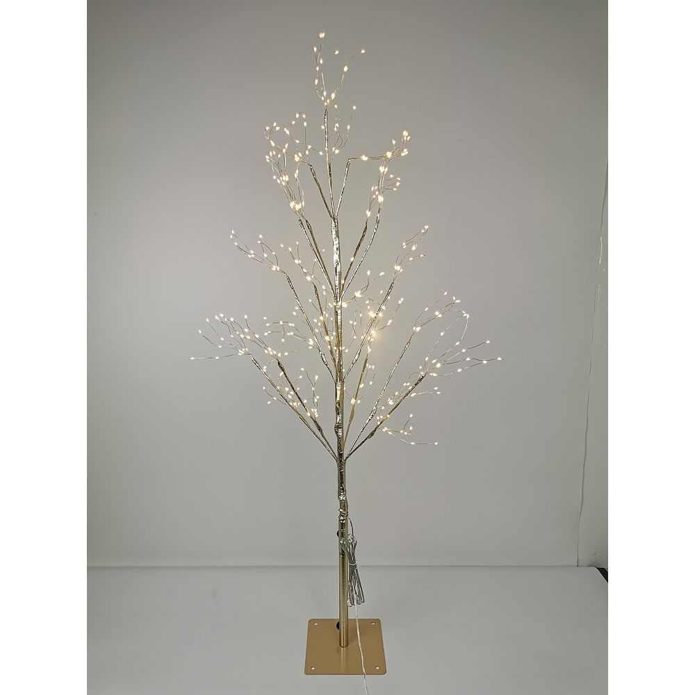 Home Accents Holiday 3.5 ft. 390-Light Warm White LED Pre-Lit Gold Christmas Tree