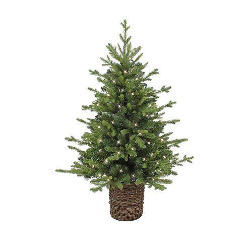 4 ft. 70-Light Warm White LED Pre-Lit Rattan Spruce Christmas Tree