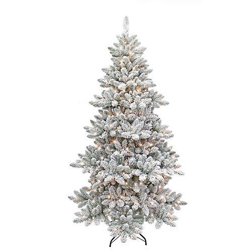 7.5 ft. Snowstorm 400-Light LED Pre-Lit Flocked Christmas Tree