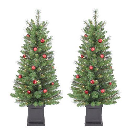 4 ft. 50-Light Pre-Lit Scotch Pine Potted Christmas Trees (Set of 2)