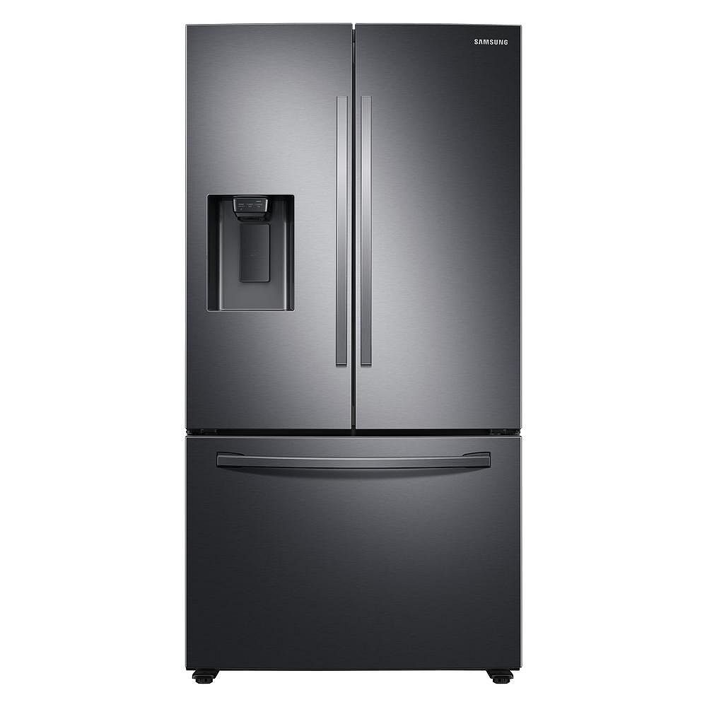 Samsung 36 Inch W 27 Cu Ft French Door Refrigerator In Black Stainless Steel Standard D The Home Depot Canada