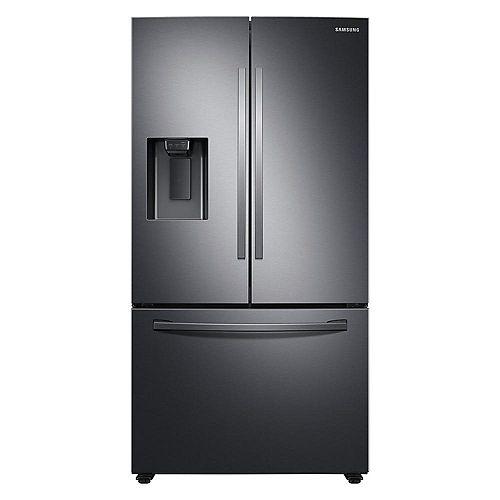Réfrigérateur à porte française de 36 pouces de largeur et 27 pieds cubes en acier inoxydable noir, profondeur standard - ENERGY STAR®