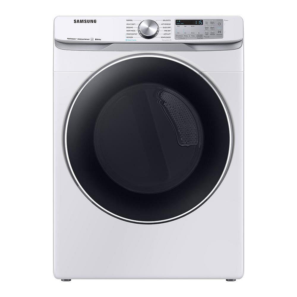 Samsung Séchoir électrique de 7,5 pi3 avec vapeur et Wi-Fi en blanc - ENERGY STAR®