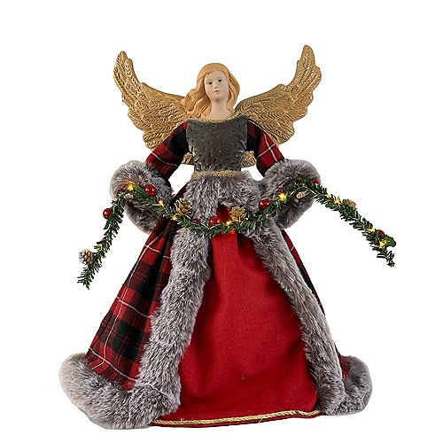 16-inch LED-Lit Red Plaid Angel Christmas Decoration with Timer