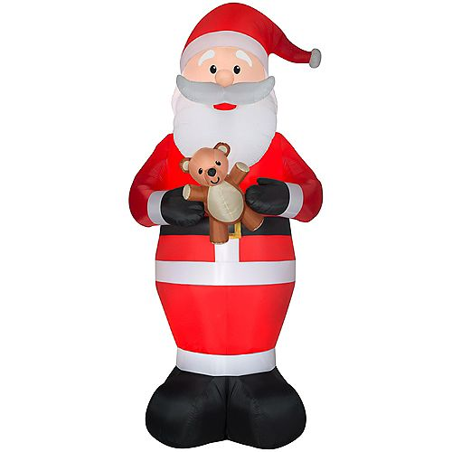 Giant 12 ft. Inflatable Santa with Candy Cane Christmas Decoration
