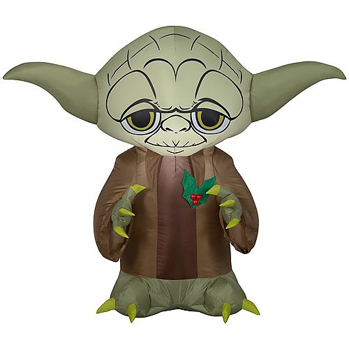 Lighted 3 ft. Inflatable Yoda with Holly Berry Christmas Decoration