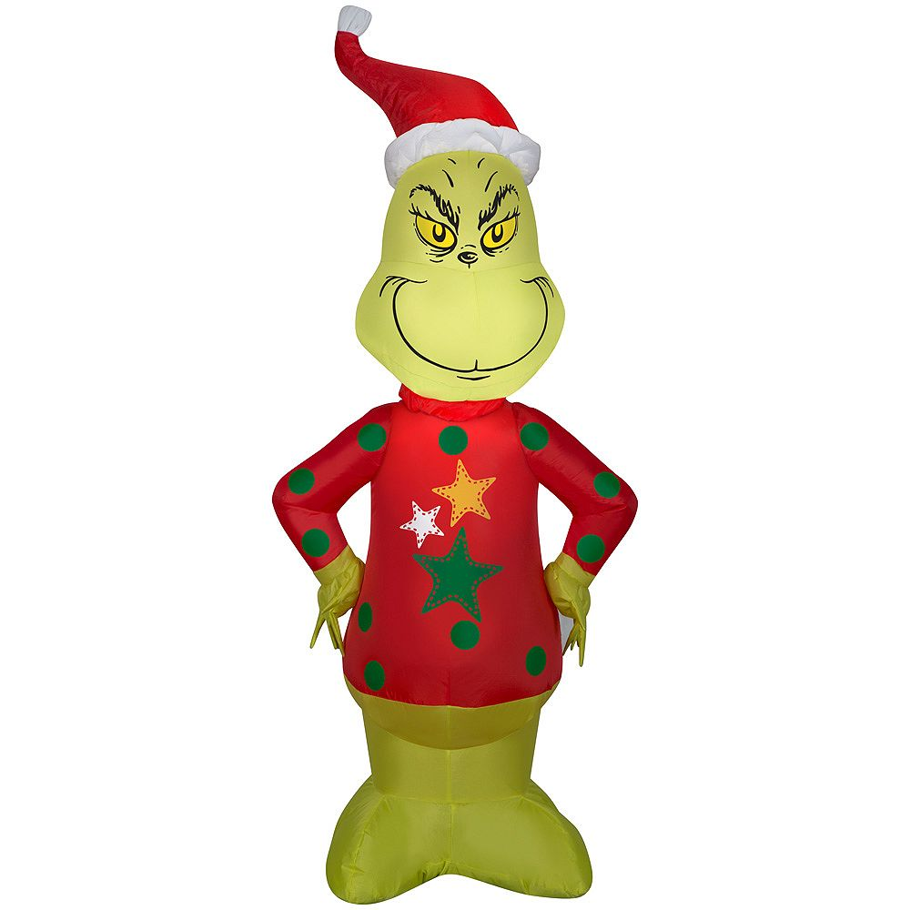 Dr. Seuss 4 ft. Lighted Inflatable Grinch with Christmas Sweater