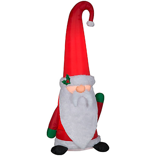 Lighted 5 ft Inflatable Gnome Santa with Plush Fabric