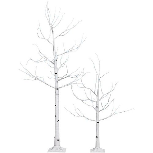 Yard Decor 2-Piece Birch Tree Set with Cool White Twinkle LEDs