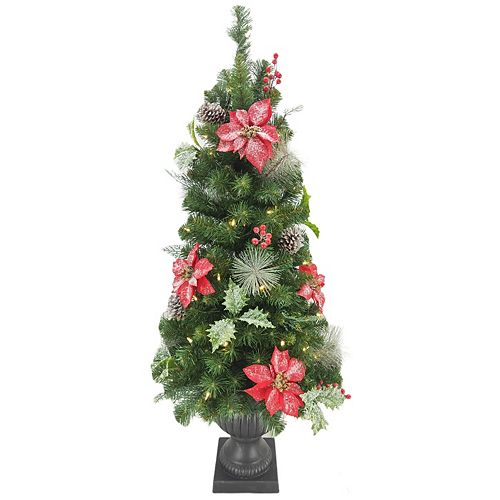Home Accents Holiday 4 ft. 50-Light Warm White LED Pre-Lit Frosted Poinsettia Potted Christmas Tree